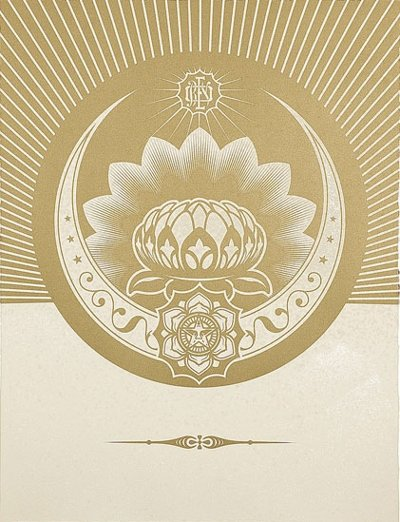 Shepard Fairey Obey Lotus Crescent - White and Gold